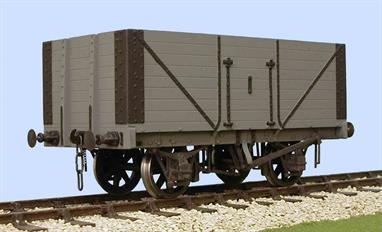 A detailed model kit building a RCH 1923 standard design open wagon with 8 plank height sides, side and end doors. The 1923 specification standardised many more sizes and components, as a result  the differences between builders were greatly reduced and this kit can be finished as a wagon built by many of the wagon builders. The 1923 specification also introduced the use of oil lubricated axleboxes as standard, so many of these wagons were reconditioned after WW2 and continued in British Railways service through the 1950s.8 plank wagons were able to carry 12 tons of even lower density coals. While collieries normally ordered wagons with end doors private coal merchants usually ordered wagons with fixed ends and side doors only.Supplied complete with wheels, 3 link couplings and sprung buffers. Slaters RCH 1923 wagon kits are supplied with etched brass W irons and compensating units.