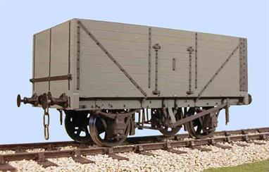 A detailed model kit building a RCH 1923 standard design open wagon with 8 plank height sides, side and end doors. The 1923 specification standardised many more sizes and components, as a result  the differences between builders were greatly reduced and this kit can be finished as a wagon built by many of the wagon builders. The 1923 specification also introduced the use of oil lubricated axleboxes as standard, so many of these wagons were reconditioned after WW2 and continued in British Railways service through the 1950s.8 plank wagons were favoured by many collieries producing lower density coal as the extra height allowed a full 12 ton load to be carried. Most of these wagons therefore had end doors to permit tipping of the load directly into bunkers of ships holds.Supplied complete with wheels, 3 link couplings and sprung buffers. Slaters RCH 1923 wagon kits are supplied with etched brass W irons and compensating units.