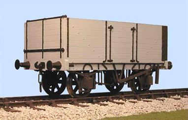 A detailed model kit building a RCH 1887 standard design open wagon with 7 plank height sides and end door. This kit replicates the details of a wagon built by the Gloucester Railway Carriage and Wagon company.The 7 plank body provided a greater internal volume than the 6 plank type, allowing up to 12 tons of coal to be carried. Initially the larger wagons were ordered mostly by collieries, coal factors (dealers) and exporters, but by 1923 the 7 plank wagon was the most commonly used type in the coal trade. Collieries and exporters usually ordered wagons equipped with end as well as side doors so the wagons could be emptied quickly by tipping the coal through the end. Side and bottom doors were also normally fitted so the wagons could easily be used for manual or hopper unloading.Supplied complete with wheels, 3 link couplings and sprung buffers.