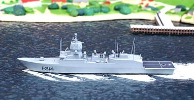 A 1/1250 scale model of the frigate, Thor Heyerdahl; a Fritjof Nansen class multi-role frigate of the Royal Norwegian Navy.
