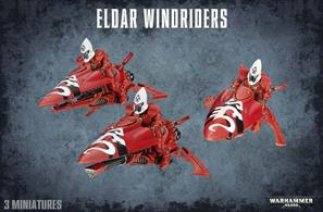 This multi-part plastic kit contains seventy-two parts - everything you need to make three Aeldari Windriders.Also included are three new guardian helmets, three small flying bases and an Aeldari transfer sheet.