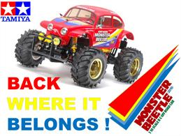 After Many years of waiting Tamiya reintroduce the 58618 Monster Beetle• 1/10 scale R/C model assembly kit. Length: 410mm, width: 290mm, height: 240mm. • The injection-moulded plastic body accurately captures the classic Tamiya Monster Beetle shape and style. • Where possible, the markings from the original model design have been recreated and combined with some newly designed markings. • The rugged ABS space-frame chassis from the original model (58060) has remained. The chassis uses a double-wishbone front with trailing arm rear suspension setups that work in tandem with the CVA oil dampers. • The rear universal drive shafts transfer power smoothly and come with rubber boots to protect them from dust. • A large dust cover is included to protect the R/C equipment. • The incredible 130mm diameter tyres with lug/pin spike tread provides fantastic off-road performance. The tyres are also paired with gold-effect, (one-piece) rims. • A driver figure is also included