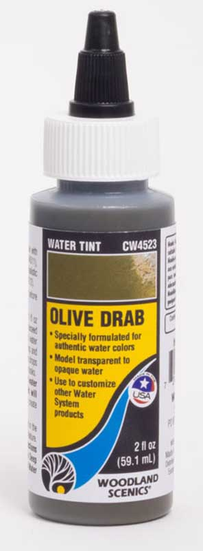 "<P><B>Woodland Scenics CW4523 Water Tint - Olive Drab</B></P>Specially formulated to represent authentic colours on the Forel-Ule Scale, Water Tints can be added to Deep Pour Water, Surface Water, and Realistic Water to model any aquatic ecosystem. Water Tints are great for any scene, from translucent to opaque waters, and everything in between. Create customized colours by mixing Water Tints and White Water Highlights together.<BR><BR><A href=""http://woodlandscenics.woodlandscenics.com/show/category/Water"">Further information and demonstration videos can be found on Woodland Scenics website.</A>"