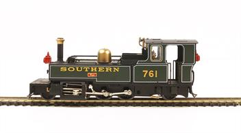 A detailed OO9 gauge model of Southern Railway locomotive 761 TAW. Built by Manning Wardle this 2-6-2 tank engine was one of the locomotives of the Lynton and Barnstaple Railway. Model finished in Southern Railway Maunsell era lined green livery.