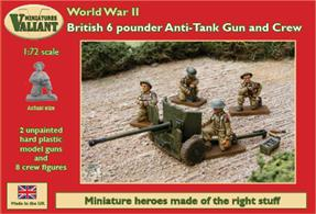 The famous British 6-pounder anti-tank gun and crew. The gun can be assembled as a late or mid-war version or the US 57mm variant. Two model guns and eight crew figures in each box