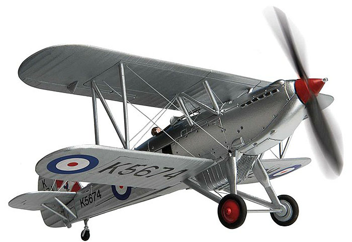 Corgi Aviation Archive AA27301<br>Detailed 1:72 scale model of the Hawker Fury biplane fighter finished as K5674 flying with the Historic Flight Collection during 2013.
