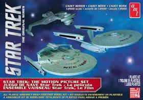 USS Enterprise, USS Reliant and a Klingon Ktinga are in this AMT/ERTL AMT762 1/2500th Star Trek Cadet Series 3 Ship Set