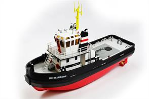 The Hobby Engine Ricahrdson Tug Boat is a radio control boat in the Hobby Engine RC Boats range operating on 2.4Ghz. Scaled down to the smallest detail the 'Richarsdson' is a beautiful re-creation of those workhorses of ocean boats, the Tug.  Length 560mm, Width 195mm, Height 420mmRequires (4) x AA batteries (Not Included).