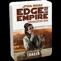 Those seeking to turn a serious profit from what they discover as they explore the Outer Rim become Traders. The Trader Specialization Deck represents a new wealth of resources for the specialization, permitting easy access to the text of its talents and artwork to further immerse you in your games.Each Specialization Deck contains:2 cover cards (including a reference guide for each deck)20 standard sized talent cardsThis deck requires the Edge of the Empire Core Rulebook and includescards for all 20 talents avaiable in the Trader specialization.