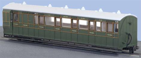 This model of the L&B enclosed brake composite coach with compartments for 1st and 3rd class plus guards office and luggage van faithfully recreates coach 4108 of the Southern Railway in green livery. In winter these coaches could provide all the passenger accomodation required and often goods traffic would be attached to the passenger trains to avoid steaming another engine for a separate goods train.Modelled from official drawings, contempary notes and photographs, although at first glance the coach appears to be quite plain, close inspection reveals a wealth of subtle detail in the painting and printing.The Lynton and Barnstaple Railway ordered 16 passenger carriages from the Bristol Wagon and Carriage Works Co. The vehicles delivered were among the largest and best equiped narrow gauge coaches running in Britain and, of substantial construction, stood up well to service across the North Devon moors. All joined the Southern Railway stock in 1923 and received a coat of Maunsell olive green, which they retained until the closure of the L&B in 1935.Length 167mm over couplings