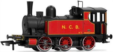 Model of an Andrew Barclay 0-6-0 side tank industrial shunting engine painted in NCB red livery.These engines with the front of the tanks sloped downwards to give better visibility for the driver, were popular at collieries where trains had to be moved along a private mineral railway to reach the connection with the national network. Preserved examples are equally capable when called on to haul short passenger trains on heritage railways.