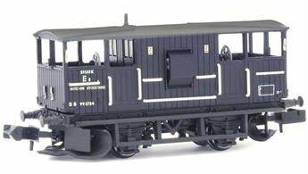Nicely detailed model of the British Railways design Shark ballast train brake van finished in the black engineering wagons livery.The Shark brake vans were fitted with ballast ploughs designed to distribute clean ballast dropped from hopper wagons across and to the sides of the track as the train moved forward, greatly speeding up the spreading of fresh ballast.