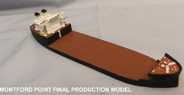 A 1/1250 scale metal model of the USNS Montford Point by Mountford models MZM008.The lead ship of a class of mobile landing platforms (MLP) and is named in honor of African Marine Corps recruits who trained at Montford Point Camp, North Carolina from 1942 to 1949. The ship was launched in 2011 and is in service now.
