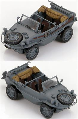 Hobby Master Schwimmwagen Type 166 WH-1381 549 Eastern Front, WWII1/48 ScaleFerdinand Porsche produced an amphibious version of the Kubelwagen (Type 82) known as Type 128. The vehicle was too large and unstable so he reduced it in size to create the Type 166 Schwimmwagen. The Type 166 originally replaced reconnaissance unit motorcycle- sidecars but also became a scout and staff car. Amphibious and all-wheel drive made the Type 166 a vehicle for mud, snow, sand or water. The rear-mounted three-blade propeller was lowered and self-engaged to linkage from the engine. The Type 166 was the most produced amphibious vehicle in history.