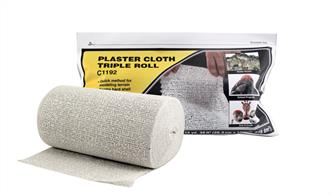 Three times as much as the regular roll! Perfect for large projects. Using Plaster Cloth is a quick, convenient and lightweight method for making durable hard shell or terrain base. Accepts Earth Colors Liquid Pigment, plaster castings and scenery materials easily. Use to fill gaps around rocks, tunnels and terrain seams.Packaged in a resealable bag.8 in x 15 yd, 30 ft2 (20.3 cm x 13.7 m, 278 dm2)