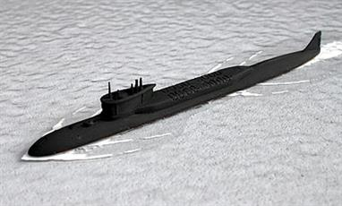 New for 2014! The first of the Borei (North Wind) class of ballistic missile submarines to enter service, designed to replace the Delta IV & Typhoon class. This submarine has been modelled fully loaded and in service with painted details. A basic, all black model is available as Alexander Nevsky.