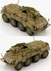 Hobby Master Sd. Kfz. 234/3 Schwerer Panzerspahwagen &nbsp;Infantry<p>1/72 Scale</p><p>During WWII the German Army used Schwerer Panzerspähwagen (Heavy Armored Reconnaissance Vehicles) to scout ahead and determine the enemy strength and report back to the main units. In spite of its size and weight the Puma was very fast and equipped with a 5cm gun and a 7.92 mm MG. Two unique features of the Sd. Kfz. 234/2 was the ability of the radio operator to drive the vehicle in reverse during emergency situations and it was the only variant with a turret. Production ran from September 1943 to September 1944.</p><p>The Sd.Kfz.234/3 chassis saw little change from the Sd.KFZ.234/2 Puma. What was changed was the superstructure and the top armored plate was removed. With the turret removed it was replaced by armor plates on all 4 sides. A new 7.5cm KwK51 L/24 short barreled main gun was installed in the open topped fighting compartment. 6 Sd.Kfz.234/3 vehicles made up a platoon of the Panzerspähwagen Company to support the SdKfz 234/1s.</p>