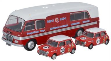 Oxford Diecast 1/76 BMC Car Transporter & 2 Minis Competition Dept 76BMC003