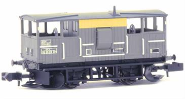 Nicely detailed model of the British Railways design Shark ballast train brake van finished in BR engineers grey and yellow 'Dutch' style liveryThe Shark brake vans were fitted with ballast ploughs designed to distribute clean ballast dropped from hopper wagons across and to the sides of the track as the train moved forward, greatly speeding up the spreading of fresh ballast.