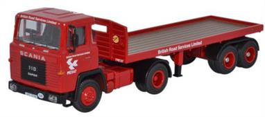 Oxford Diecast 1/76 Scania 110 Flatbed Trailer British Road Services Red 76SC110002