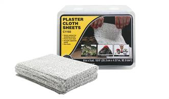 Pre-cut for convenience, using Plaster Cloth is a quick, convenient and lightweight method for making durable hard shell or terrain base.Accepts Earth Colors, Liquid Pigment, plaster castings and scenery materials easily. Use to fill gaps around rocks, tunnels and terrain seams.Package doubles as a dipping and storage tray.30 sheets/pack. Sheets 8 in x 12 in, 19.8 ft2 (20.3 x 30.4 cm, 1.83 m2)