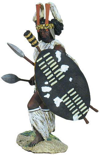 "<p>W Britain Zulu warrior of the u-Mbonambi Regiment Advancing - No1</p><p>The regiment was created in 1818/19 during the reign of Shaka Zulu. Zulu regiments were known sometimes as ""Impis""</p><p>1/30 Scale</p><p>Matt Finish</p>"