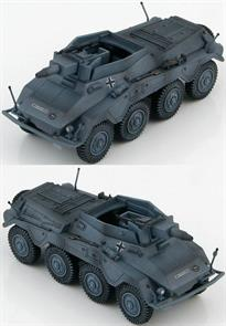 Hobby Master Sd. Kfz. 234/3 Schwerer Panzerspahwagen 116 Panzer Division,<p>1/72 Scale</p><p>During WWII the German Army used Schwerer Panzerspähwagen (Heavy Armoured Reconnaissance Vehicles) to scout ahead and determine the enemy strength and report back to the main units. In spite of its size and weight the Puma was very fast and equipped with a 5cm gun and a 7.92 mm MG. Two unique features of the Sd. Kfz. 234/2 was the ability of the radio operator to drive the vehicle in reverse during emergency situations and it was the only variant with a turret. Production ran from September 1943 to September 1944.</p><p>The Sd.Kfz.234/3 chassis saw little change from the Sd.KFZ.234/2 Puma. What was changed was the superstructure and the top armored plate was removed. With the turret removed it was replaced by armor plates on all 4 sides. A new 7.5cm KwK51 L/24 short barreled main gun was installed in the open topped fighting compartment. 6 Sd.Kfz.234/3 vehicles made up a platoon of the Panzerspähwagen Company to support the SdKfz 234/1s.</p>