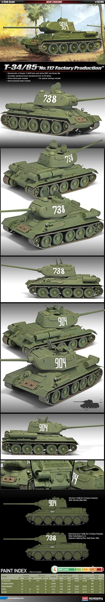 Academy 1/35 Russian T-34/85 no.112 Factory Production Tank Kit 13290Glue and paints are required to assemble and complete the model (not included)