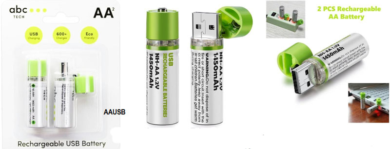 Rechargeable USB AA Battery Pack of 2 ABC
