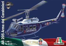 "Italeri 1/48 AB205 Carabinieri Helicopter Kit 2739The AB 205 helicopter is the version of the famous UH-1 ""Huey"", widely used by the American Army in the Vietnam war, produced under license in Italy for the Italian armed forces and police, as well as for export to some European countries and the Middle East. This aircraft was designed in the 60s, has proved to be very sturdy and reliable, and has been used in a wide variety of roles: transport, assault and rescue. The versions used by the police are equipped with medical appliances, a winch, speakers for public order work, plus survey and rescue accessories for natural disasters and accidents."