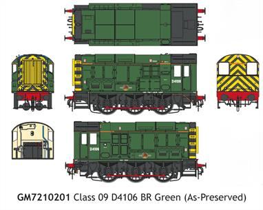 Detailed model of BR Southern region class 09 diesel shunting locomotive D4106 finished as preserved in green livery with wasp stripe ends and late crest.This locomotive carries the high level air brake connections used to shunt EMU stock and a high intensity headlight fitted to enhance visibility of the moving locomotive in well-lit yards.D4106 is modelled as preserved at the Bluebell Railway, having been purchased as 09018 by a consortium of members of the railways' locomotive department and restored to British Railways green livery in 2017, but retaining the later fitted sealed beam headlight.