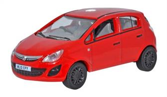 Oxford Diecast 1/76 Vauxhall Corsa Red 76VC003Vauxhall Corsa RedThe third release on this recent piece of new Oxford tooling sees the very modern car in a vibrant red colour scheme. The Corsa D made its debut in 2006 and is still being produced. Classed as a supermini and sold as the Vauxhall Corsa in the UK, it is known as the Opel in Europe. Our Oxford version of the Corsa D is the five-door model and is registered ML12 CFY. In dramatic contrast to the body colour which also extends to the bumpers, the exterior trim is masked in both silver and black. The interior is grey with black steering wheel. Note the very modern light clusters to the front and rear and the highly detailed Corsa badge, too.