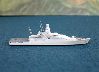 A 1/1250 scale fully assembled & painted metal model of  P841 Zeeland, a Holland-class corvette/patrol vessel.of the Royal Netherlands Navy.