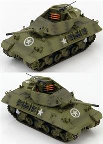 "M10 US Tank Destroyer ""Wolverines"" 803rd Tank Destroyer Battalion, England 1944<p>1/72 Scale</p><p>The M-10 was America's first tank destroyer built on a Sherman hull with a 76mm 50 caliber cannon. The cannon was so heavy a counter-weight had to be mounted on the rear of the turret. It had light angular armour and counted on speed and agility for survival. Extra armour could be bolted to the turret and hull. The turret had an open-top exposing the crew to enemy fire and the elements. The M-36 with its 90mm cannon eventually replaced the M-10.</p><p>The US M10 was the most produced US tank destroyer of WWII. The British M10s were called Achilles IIC because of the modification of the main gun from a 3 inch gun to a quick-firing British 17 Pounder. The conversions took place at the Royal Arsenal at Woolwich. The Mk. IC had a diesel engine while the Mk. IIC had a gasoline engine. Even the gun of the Mk. IIC was having difficulty against the heavy armor of the German Panthers and Tigers. Gradually the M36 Jackson with its heavier armor began to take over from the M10 and Achilles.</p>"