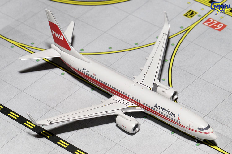 Gemini Jets 1/400 American Airlines Boeing B737-800W TWA Retro Livery GJAAL1514<br>Gemini Jets GJAAL1514  is a 1/400th scale model of an American Boeing B737-800W in the TWA Retro Livery
