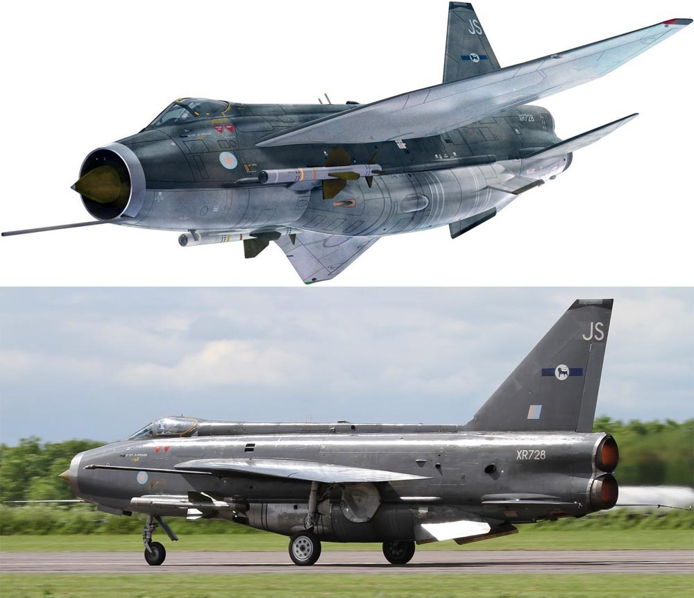 Corgi's AA28401 is a detailed 1/48th scale diecast model of the RAFs English Electric Lighting supersonic interceptor finished as the new preserved F.6 XR728 as flying from RAF Binbrook Station Commanders Aircraft liveried as the Lightning Training Flight