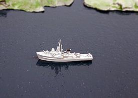"A detailed model of a class of 118 minesweepers representing the early members of the class which were named after villages ending with ...ton. These aluminium-framed, wooden vessels were officially ""Coniston"" class and found work as patrol ships, fishery protection ships and survey vessels into the 1980s and many were sold to other navies."