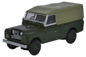 Land Rover Series II Canvas Back Bronze GreenThe long wheelbase Land Rover goes back to its roots with this very recognisable colour scheme of Bronze Green and Reed Green tilt. Registered YAC 654, the latest Oxford replica with its characteristic silver and black masked radiator grille, also features silver window frames and door handles, a Bronze Green interior, black seats and steering wheel and black windscreen wipers.