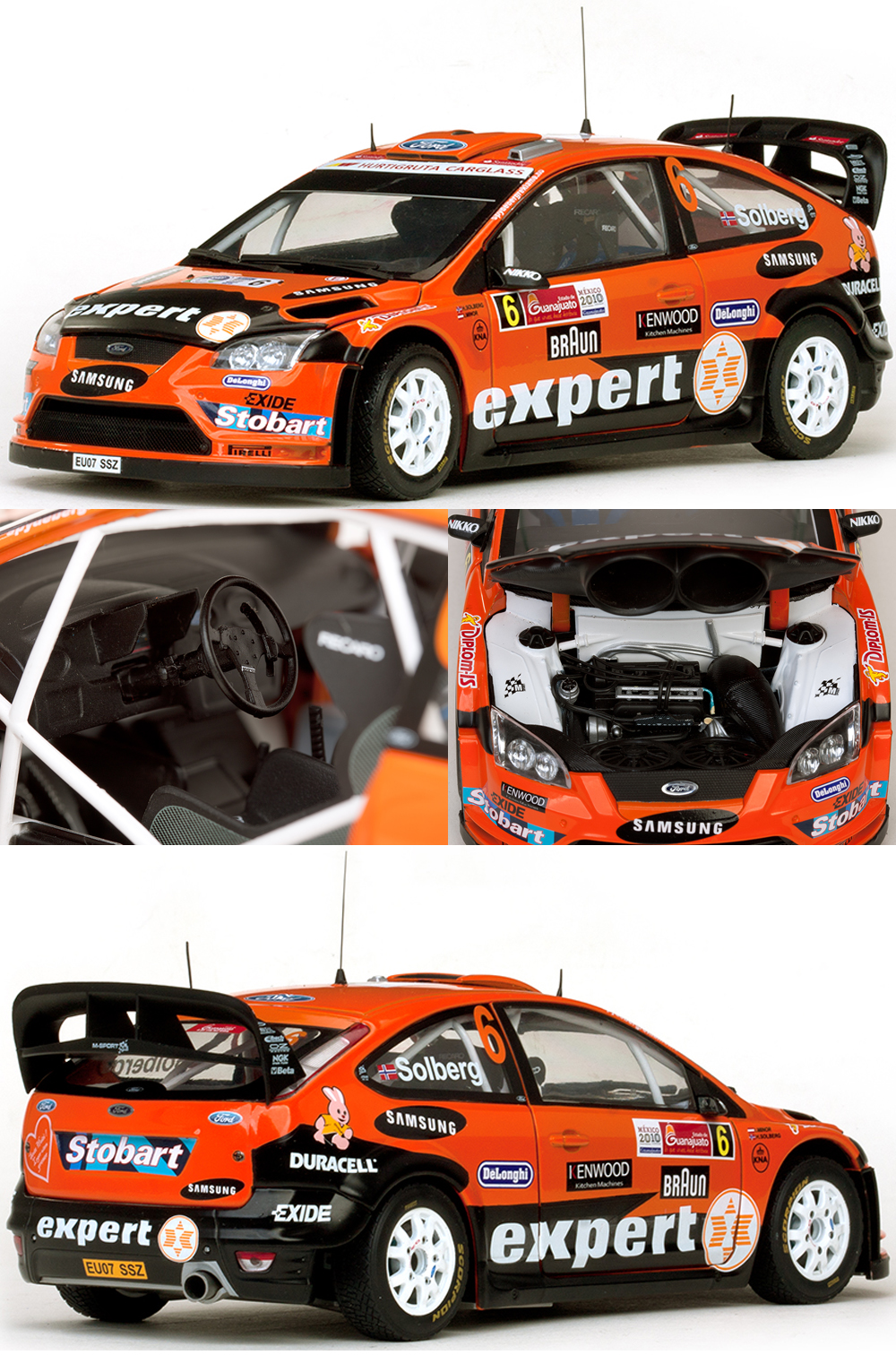 Sunstar bring you a 1/18th diecast model of the Ford Focus RS WRC08 World Rally Car driven by H Solberg & Co driven by I Minor in the Rally Mexico during 2010
