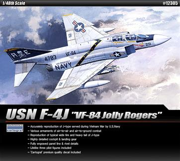 Academy brings you 12305 the excellent 1/48th scale plastic kit of the USN Phantom F4J VF-84 Jolly Rogers Jet kitGlue and paints are required