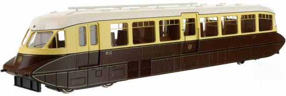 Second release of Dapol's superb GWR railcar model. This model is finished in original condition with the bogie valances in place and painted GWR chocolate and cream with the 1934 shirtbutton monogram logos on the front end and side door.Car 12 was one of the first production design of railcars built by the Gloucester Railway Carriage and Wagon company in 1936 with the smoothly rounded body end shape and piston plunger buffers.Note - Scale model with full valances. The valances limit bogie rotation, use with curves of radius 3 or larger. Model 4D-011-006 is finished in this livery but without the bogie valances and is suitable for curve radius 2.
