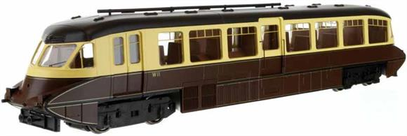Second release of Dapol's superb GWR railcar model. This model is finished in GWR chocolate and cream livery without logos and carrying the regional prefix British Railways number W11. This livery was carried by many of the cars after nationalisation, pending repainting into the new British Railways colours.Car 11 was one of the first production design of railcars built by the Gloucester Railway Carriage and Wagon company in 1936 with the smoothly rounded body end shape and piston plunger buffers.Note - Scale model, suitable for radius 2 curves and larger.