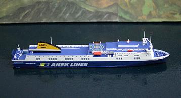 A 1/1250 scale model of Norman Atlantic by Rhenania Junior RJ260.Built in 2009,this Ro-Ro ferry has moved around Europe on several charters in different liveries but became infamous in 2014 when a fire broke out on board in the Mediterranean in December 2014.Modelled in ANEK livery, as at the time of the fire, this is an exceptionally fine and well detailed model of a modern ferry.