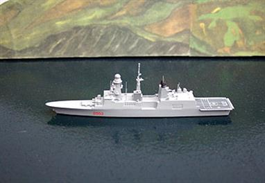 A 1/1250 scale metal model of Anrea Doria, D553, an Italian Destroyer as she was in 2014. Andrea Doria is the first new model for 1250 Ships (formerly California Models). They have re-introduced their Italian Navy ships updated to their 2014 configuration. The models are made for them by Rhenania, so quality is absolutely guaranteed. The TF003N model replaces the TF003 (2009 version) of the joint project with France that produced the Forbin class of which these are variants. The models are based on Rhenania's KLA-X models of Forbin & Chevalier Paul, also available from Antics when they are in production (see also Ciao Duilio).