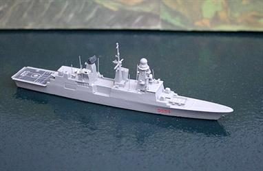 A 1/1250 scale waterline metal model, fully painted and assembled, of Ciao Duilio. This Andrea Doria-class destroyer is modelled in its current form with all its 2013 revisions. Based on the French Forbin-class destroyers, they are optimised for AA defence of a task force built round the aircraft carrier, Conte di Cavour.