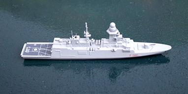 "A 1/1250 scale metal waterline model of Carlo Bergamini, F590, an Italian frigate of 2013. Carlo Bergamini is a new frigate that has recently entered service and this model was entirely new for 2015 from fine model maker Rhenania for ""1250 Ships"" in USA. This model is ready assembled and fully painted and detailed. See also the sistership, Virginio Fasan."