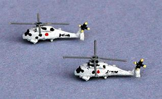 Two helicopters for modern Japanese warships.