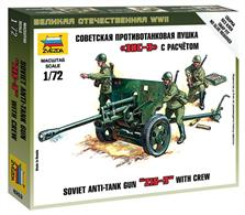 Zvezda 1/72 Soviet Anti-Tank Gun ZIS-3 with Crew 6253