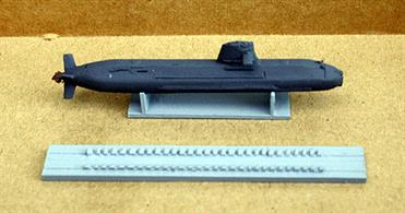 This is a full hull 1/1250 scale model of the JMDF submarine, Soryu, that is complete with a display stand and a cast set of blocks to enable the model to displayed in a dry dock.