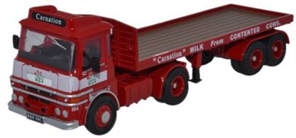 Oxford Diecast 1/76 ERF LV Flatbed Trailer Carnation 76LV002ERF LV Flatbed Red